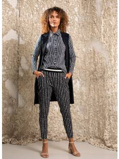 Studio Anneloes Broek Studio Anneloes Floria dotted line trouser 04870 Broek 6911 dark blue/off white