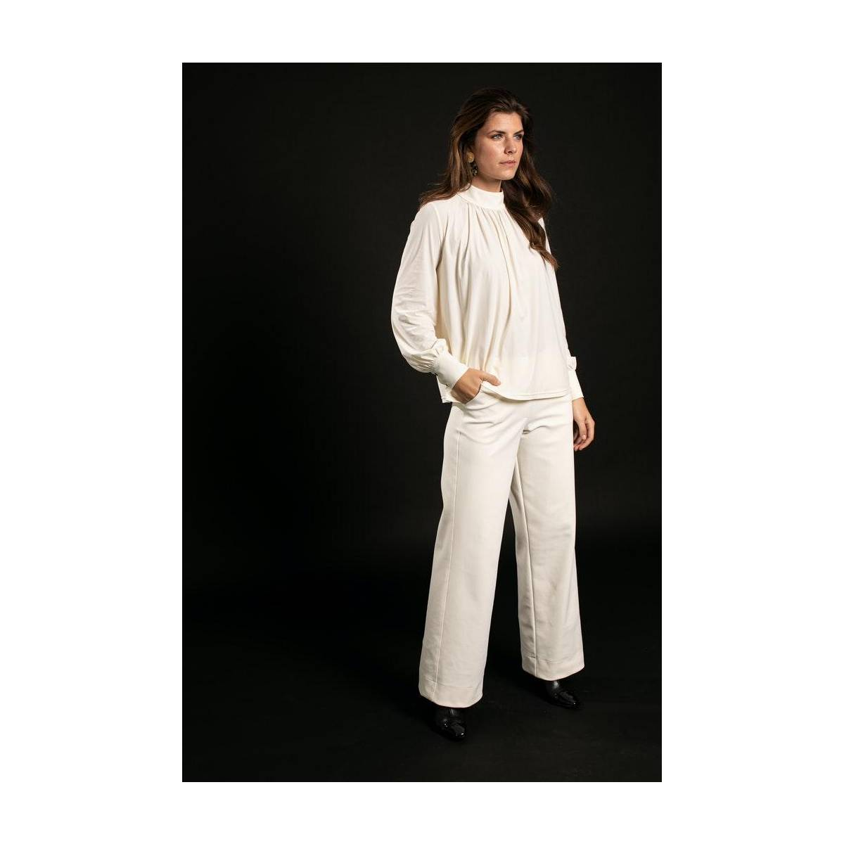 Studio Anneloes Mallory bonded trousers 05291 Ecru