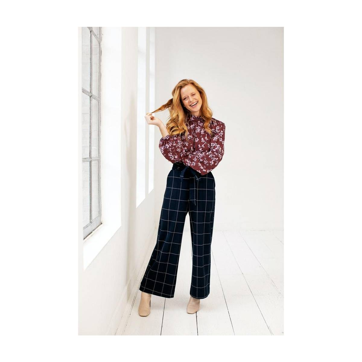Studio Anneloes Charlotte check trousers 05434 Blauw