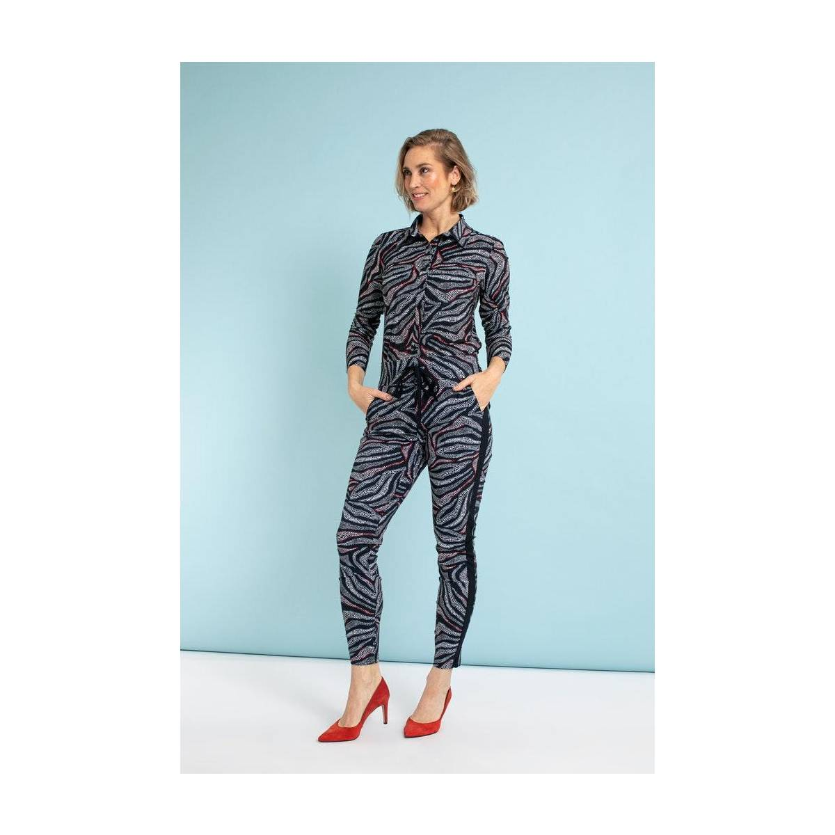 Studio Anneloes Road wave trousers 05523 Blauw
