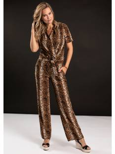 Studio Anneloes Broek Studio Anneloes Marilyn tiger jumpsuit 04770 Jumpsuit 8490 camel/black