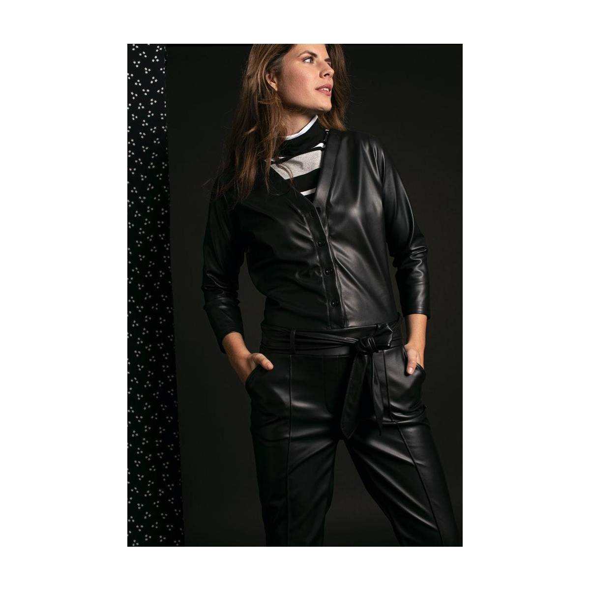 Studio Anneloes Hanny leather jumpsuit 05280 Zwart