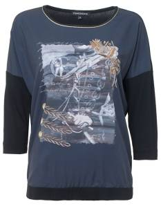 Tramontana P11-84-401 TOP SATIN FRONT T-Shirt Lange mouw 5030 dark blue