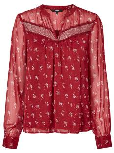 Vero Moda Shirt en Top Vero Moda VMVIOLA LS TOP T-Shirt Lange mouw rumba red 10207532
