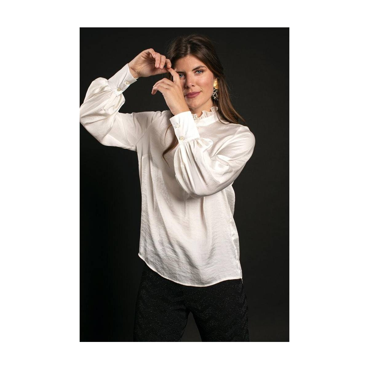 Studio Anneloes Galaxy satin blouse 05293 Wit
