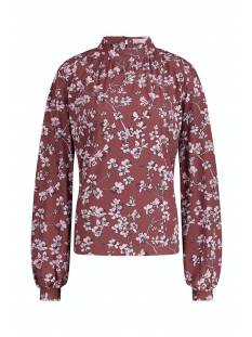 Studio Anneloes Nour flower blouse 05369 T-Shirt Lange mouw 3969 wine red/dark blue