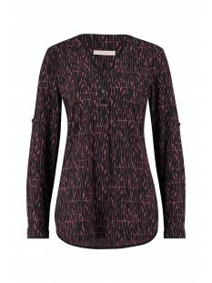 Studio Anneloes Shirt en Top Studio Anneloes Evi medium letter blouse 05362 T-Shirt Lange mouw 3969 wine red/dark blue