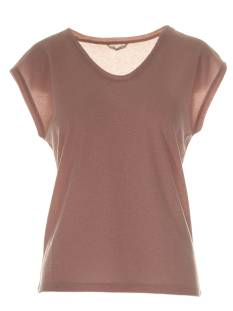 Only Shirt en Top Only ONLSILVERY S/S V NECK LUREX TOP T-Shirt Korte mouw mahogany rose