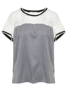Tramontana Shirt en Top Tramontana C17-86-301 TOP LACE STRIPE MIX T-Shirt Korte mouw 5032 midnight