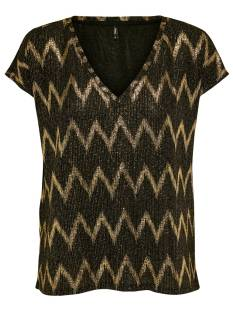 Only Shirt en Top Only ONLCAROL SS GLITTER V-NECK TOP T-Shirt Korte mouw black zigzag 15190146