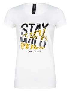 Jane Lushka Shirt en Top Jane Lushka P620SS600 Frankie Stay Wild T-Shirt Korte mouw 001 white