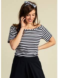 Studio Anneloes Shirt en Top Studio Anneloes Malin off shoulder stripe 04655 T-Shirt Korte mouw 1069 white/dark blue