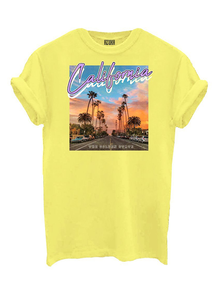 Azuka dames Shirts en Tops AZUKA T-SHIRT CALIFORNIA S Geel