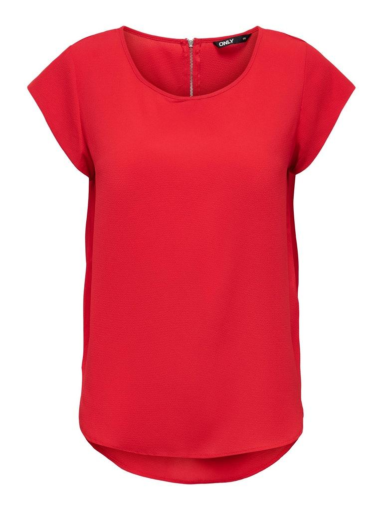 Only dames Shirts en Tops ONLVIC S/S SOLID TOP NOOS WVN 34 Rood