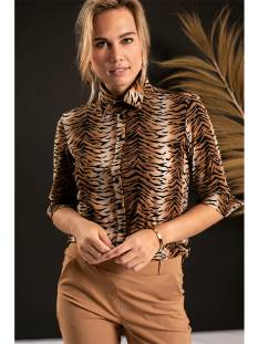 Studio Anneloes Poppy tiger shirt 3/4 cuff 04772 Blouse 8490 camel/black