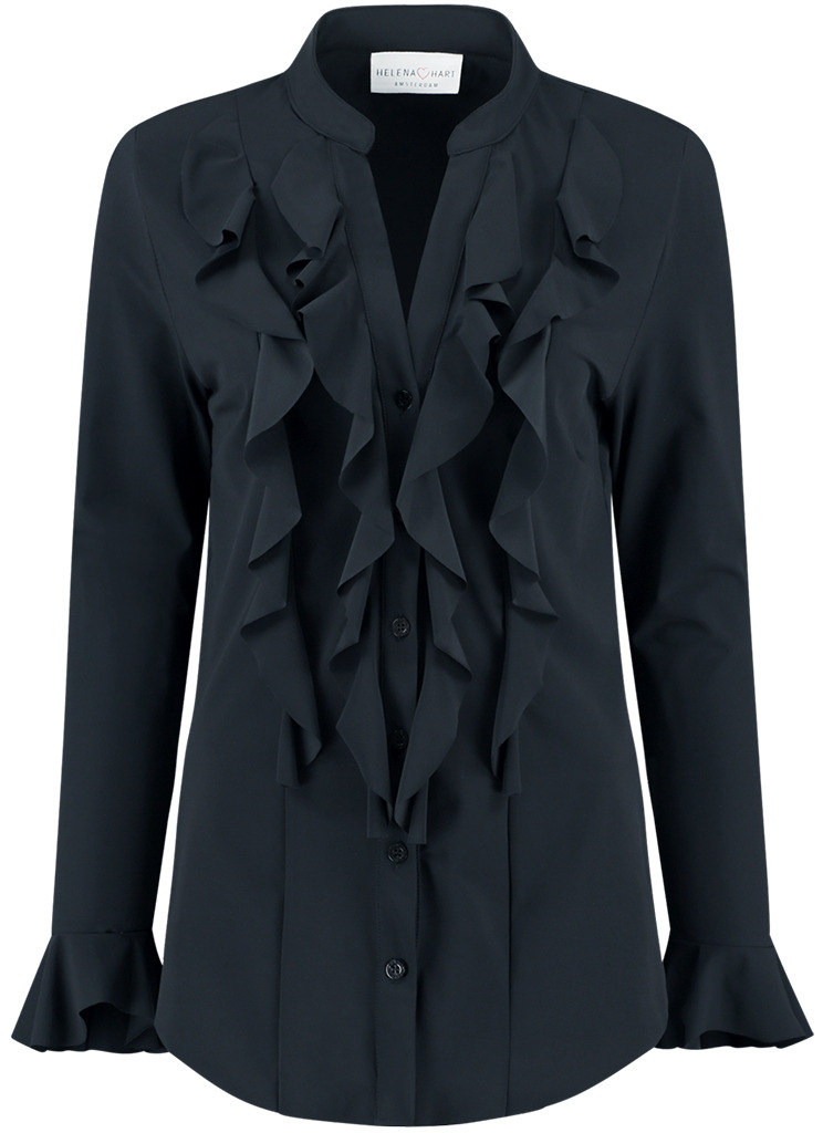 Helena Hart dames Blouses 7258 BLOUSE VOLANT XS Blauw