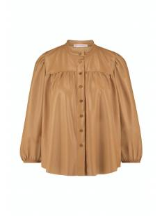 Studio Anneloes Blouse Studio Anneloes Abby faux leather blouse 05632 Blouse 8400 camel