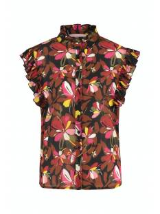 Studio Anneloes Blouse Studio Anneloes Michelle crepe flower blouse Blouse 9030 black/red
