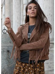 Colourful Rebel Jas Colourful Rebel 7089 NATHALIE LEATHER FRINGE Jack brown