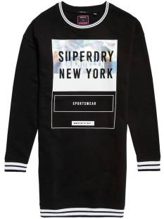 Superdry Jurk Superdry G80003IP TIPPED RIB SWEAT DRESS Jurk black 02a