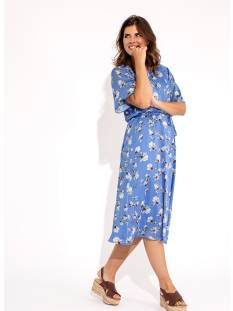 Studio Anneloes Jurk Studio Anneloes Jara big flower dress 04722 Jurk 6611 brightblue/offwhite