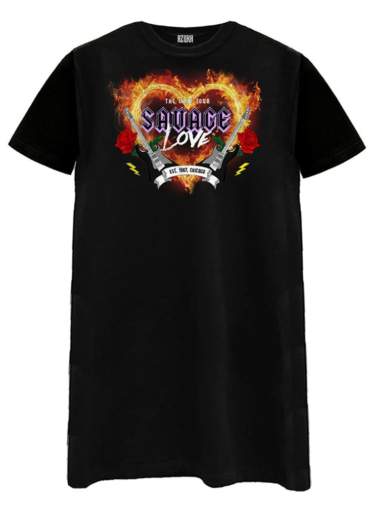 Azuka dames Jurken SAVAGE LOVE T-SHIRT DRESS S Zwart