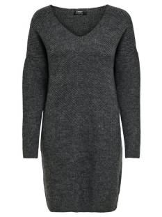 Only Jurk Only ONLJADA L/S DRESS KNT Jurk dark grey melange 15211321