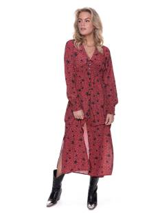 Colourful Rebel 9082 HARPER STAR LEOPARD MAXI Jurk red