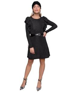 Colourful Rebel 9116 NELLY LUREX RUFFLE DRESS Jurk black