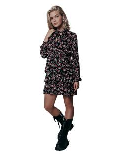 Colourful Rebel Jurk Colourful Rebel 10066 KIMI FLOWER PLISSE DRESS Jurk black/red