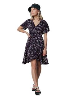 Colourful Rebel Jurk Colourful Rebel 10133 TELSI HEARTS WRAP DRESS Jurk black/pink