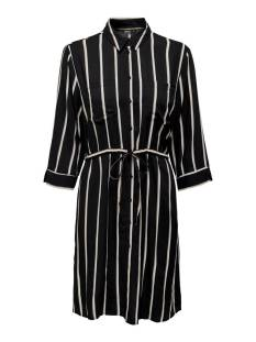 Only Jurk Only ONLTAMARI 3/4 SHIRT DRESS WVN NO Jurk black white/camel 15185738
