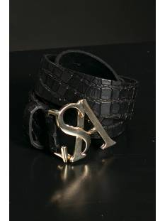 Studio Anneloes Accessoire Studio Anneloes Gold kroko leather belt 05208 Riemen 9000 black