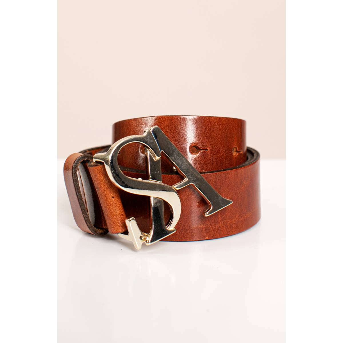 Studio Anneloes SA gold buckle leather belt Bruin
