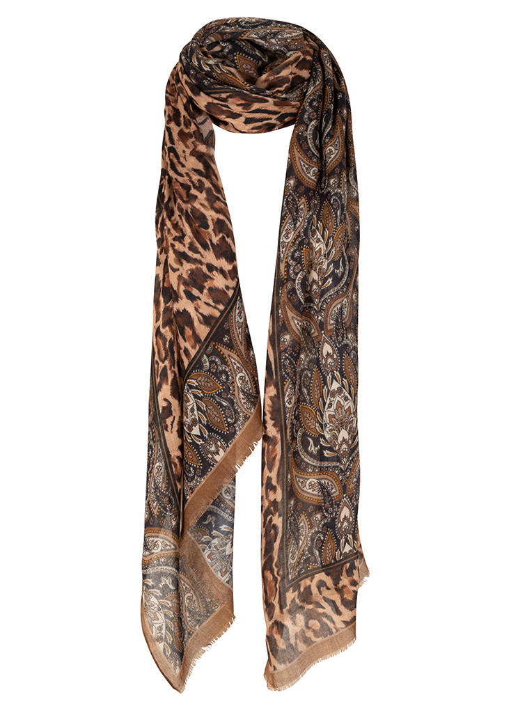 Tramontana dames Accessoires I05-01-001 Scarf Leopard ONE SIZE Bruin