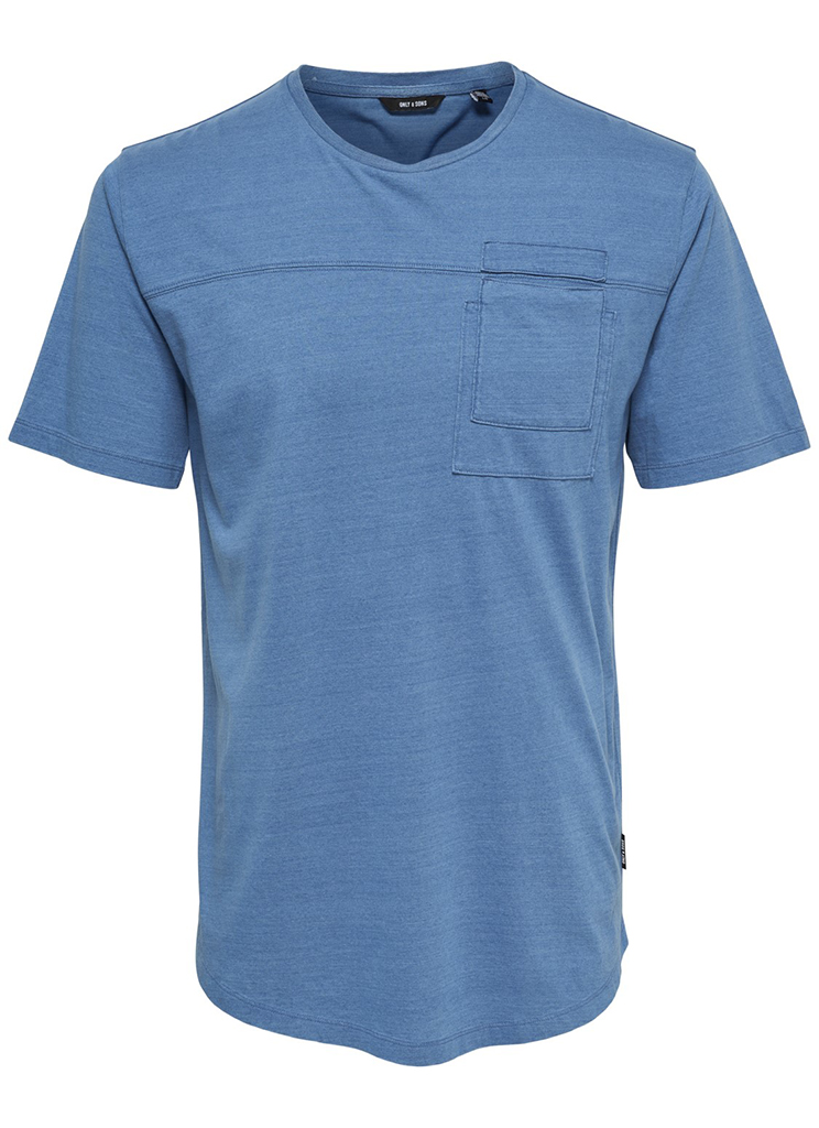Only & Sons heren Shirts ONSFALLON POCKET SS TEE S Blauw