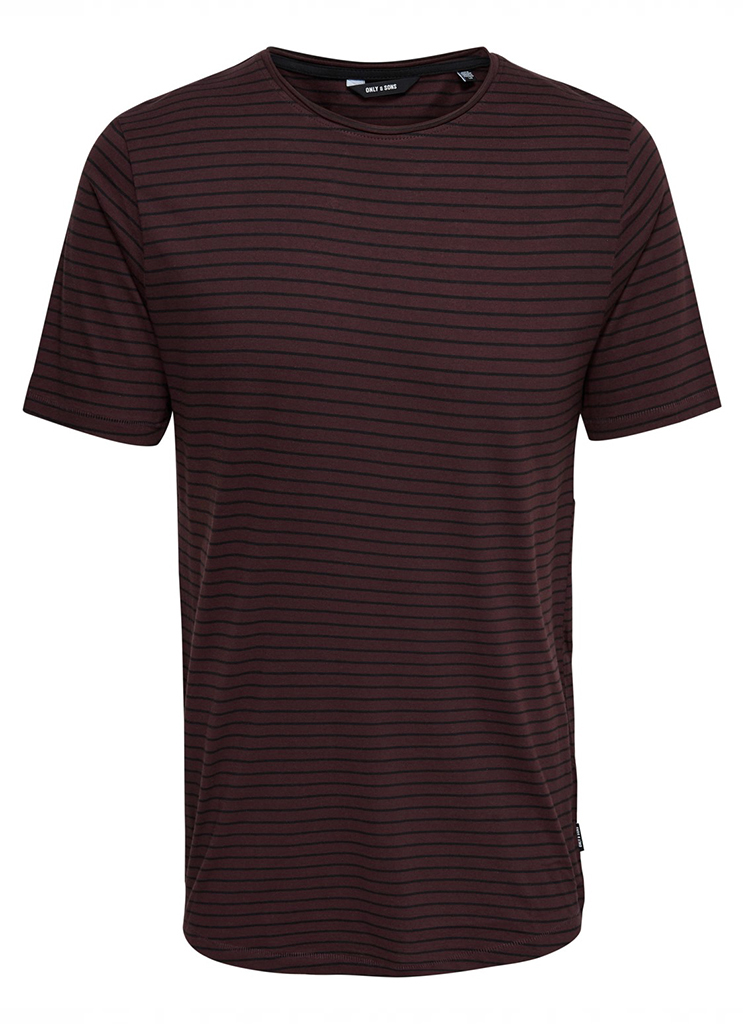 Only & Sons heren Shirts ONSPAULI STRIPES SS TEE S Rood