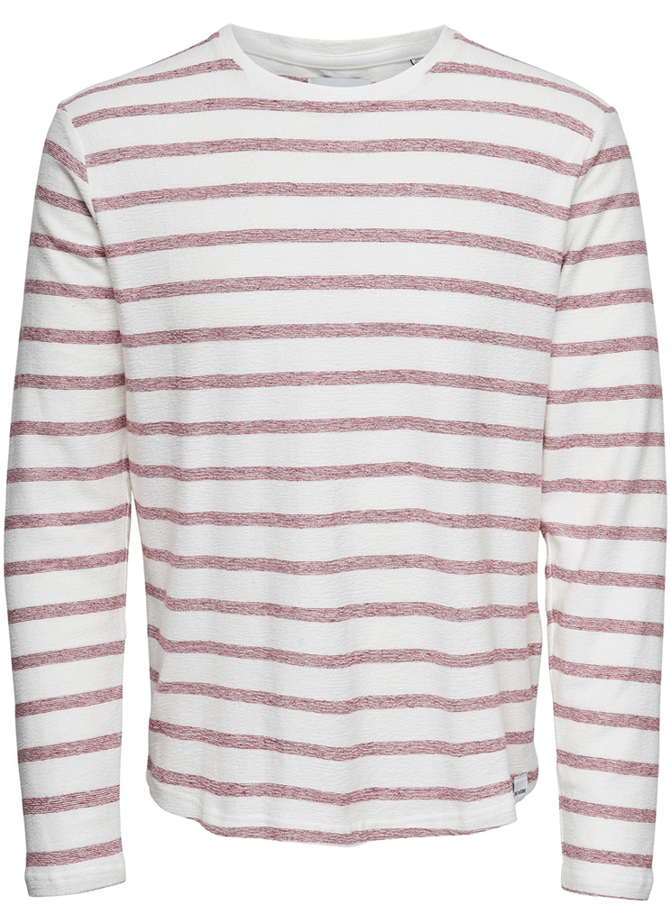 Only & Sons heren Shirts ONSMARVIN STRIPED CREW NECK XXL Wit