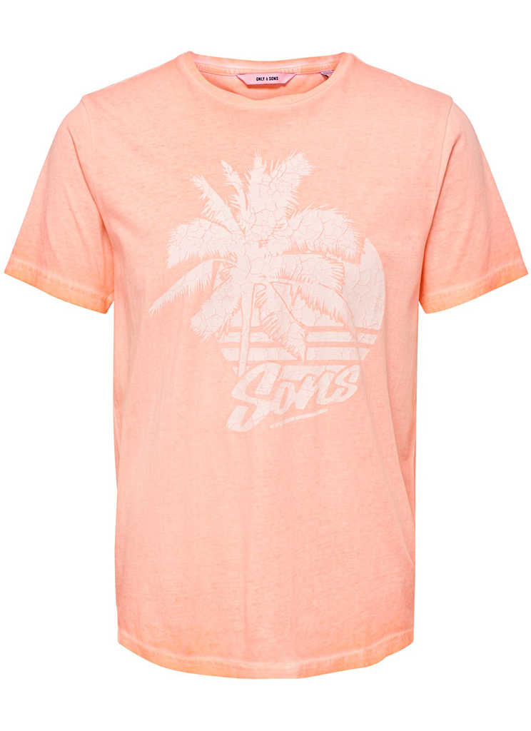 Only & Sons heren Shirts ONSPIMMIT SS NEON TEE M Oranje