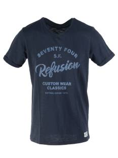 Refusion Shirt Refusion 210209M T-SHIRT V-NECK Print T-Shirt total eclipse