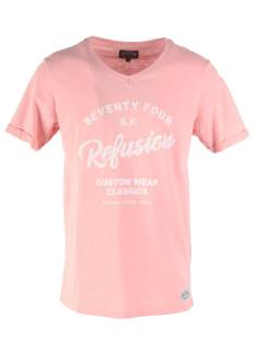 Refusion Shirt Refusion 210209M T-SHIRT V-NECK Print T-Shirt blush