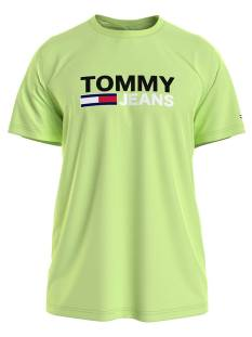 Tommy Jeans Shirt Tommy Jeans DM0DM10214 CORP LOGO TEE Print T-Shirt lt3 faded lime