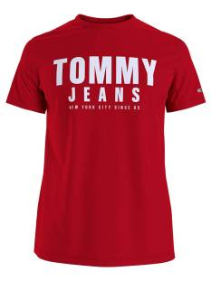 Tommy Jeans DM0DM10243 CENTER CHEST TOMMY Print T-Shirt xnl deep crimson