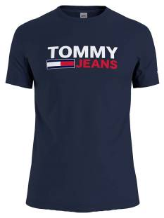 Tommy Jeans Shirt Tommy Jeans DM0DM10626 SKINNY CORP TEE Print T-Shirt c87 navy