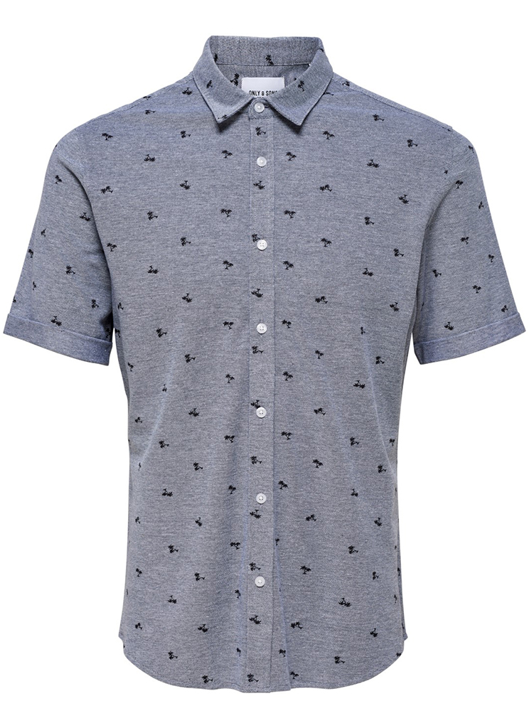 Only & Sons heren Shirts ONSCUTON SS KNITTED PIQUE S Blauw