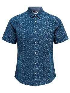 Only & Sons Overhemd Only & Sons ONSCAIDEN SS AOP LINNEN SHIRT Blouse   majolica blue 22012661