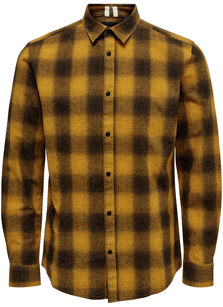 Only & Sons heren Overhemden ONSEWAN LS SHADOW CHECK SHIRT L Geel
