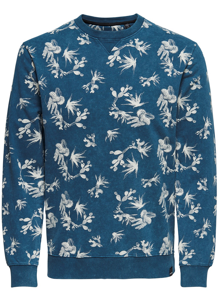 Only & Sons heren Truien ONSNED AOP WASHED CREW NECK S Blauw