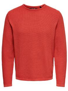 Only & Sons  Only & Sons ONSHUGH LINE CREW KNIT Trui aura orange