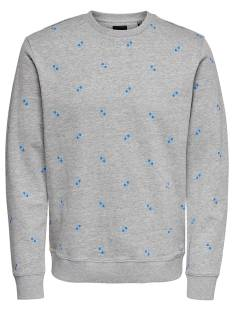 Only & Sons  Only & Sons ONSKNIGHT AOP FLEECE SWEAT Sweater light grey mele